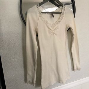 Free People thermal lace detail top